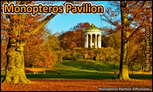 Free English Garden Walking Tour Map Munich Park - Monopteros Pavilion acropolis